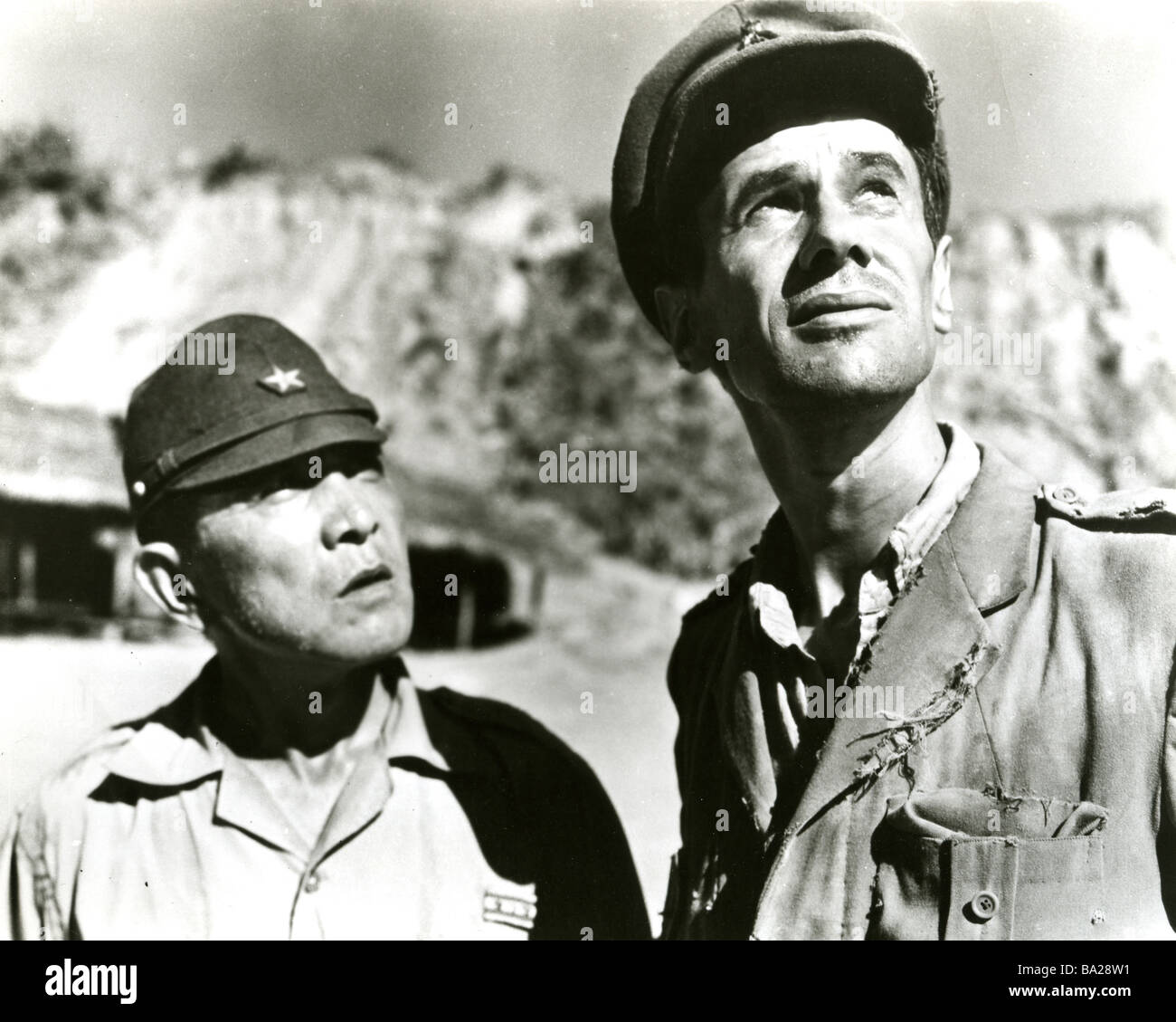BRIDGE ON THE RIVER KWAI  1957 Columbia film with Geoffrey Horne at right - Stock Image
