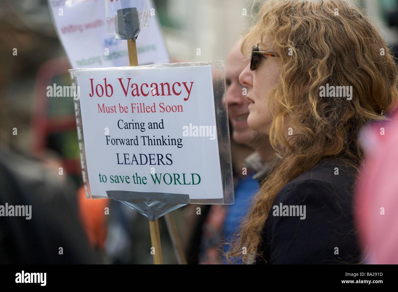 Protestor at Climate Camp at G20 summit demonstration, Bank, London - Stock Image