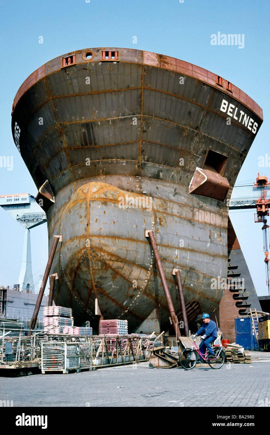 April 7, 2009 - JJ Sietas shipyard outside the German city of Hamburg. - Stock Image