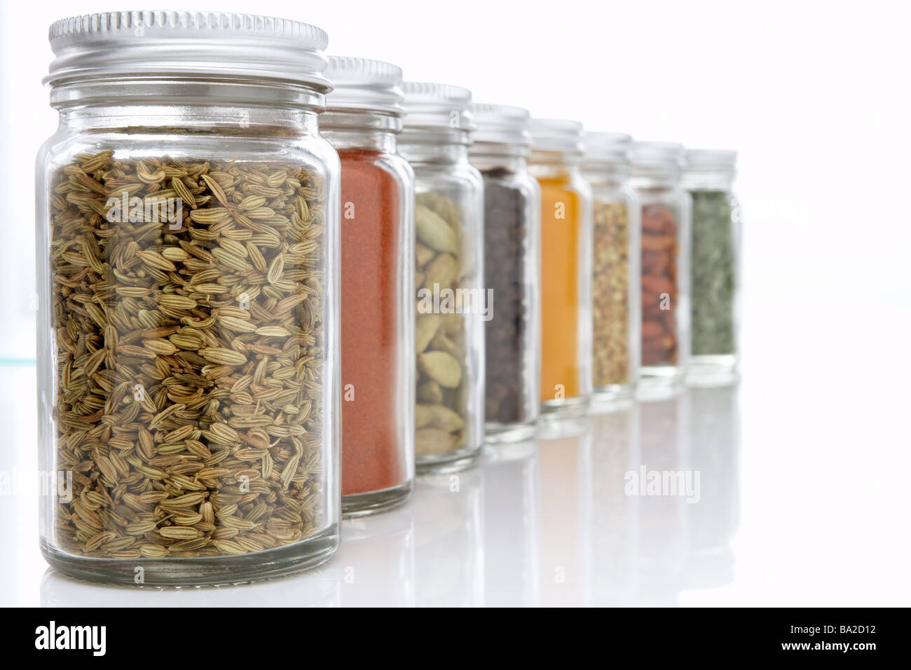 Jars Of Herbs And Spices - Stock Image