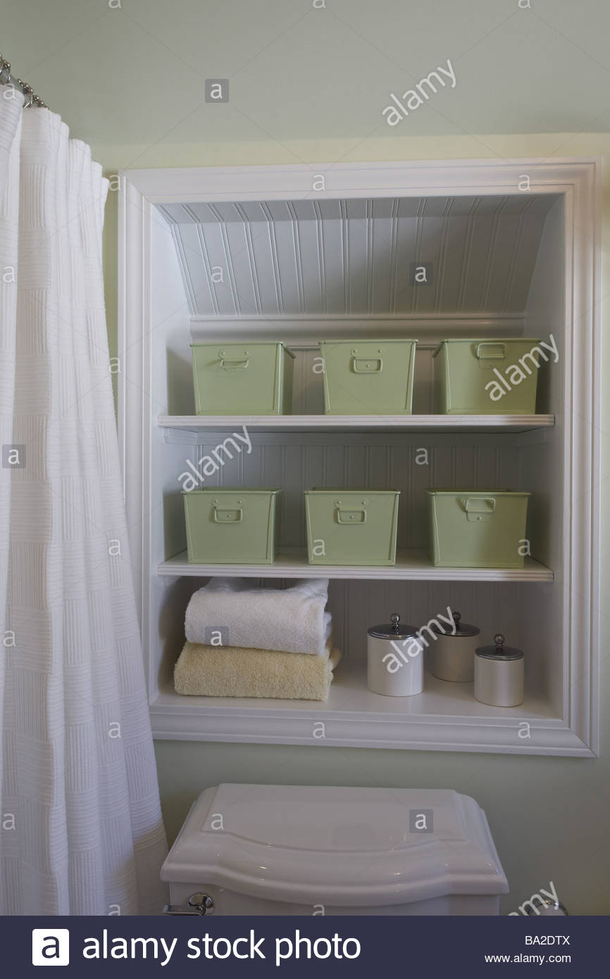Bathrooms detail niche shelves towels storage-boxings bath Stock ...
