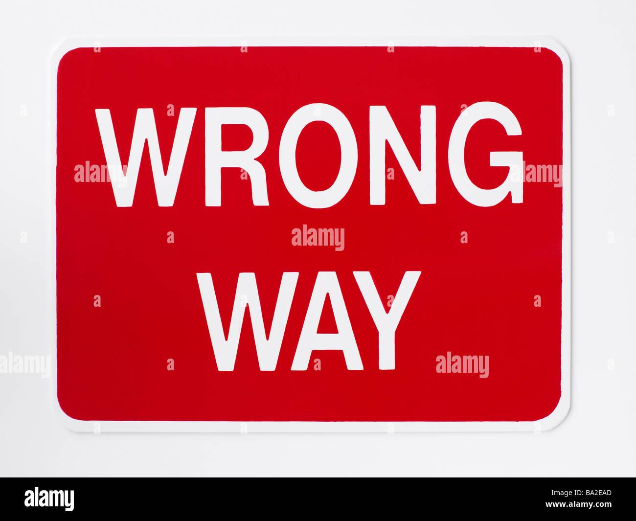 Wrong Way Road Sign - Stock Image