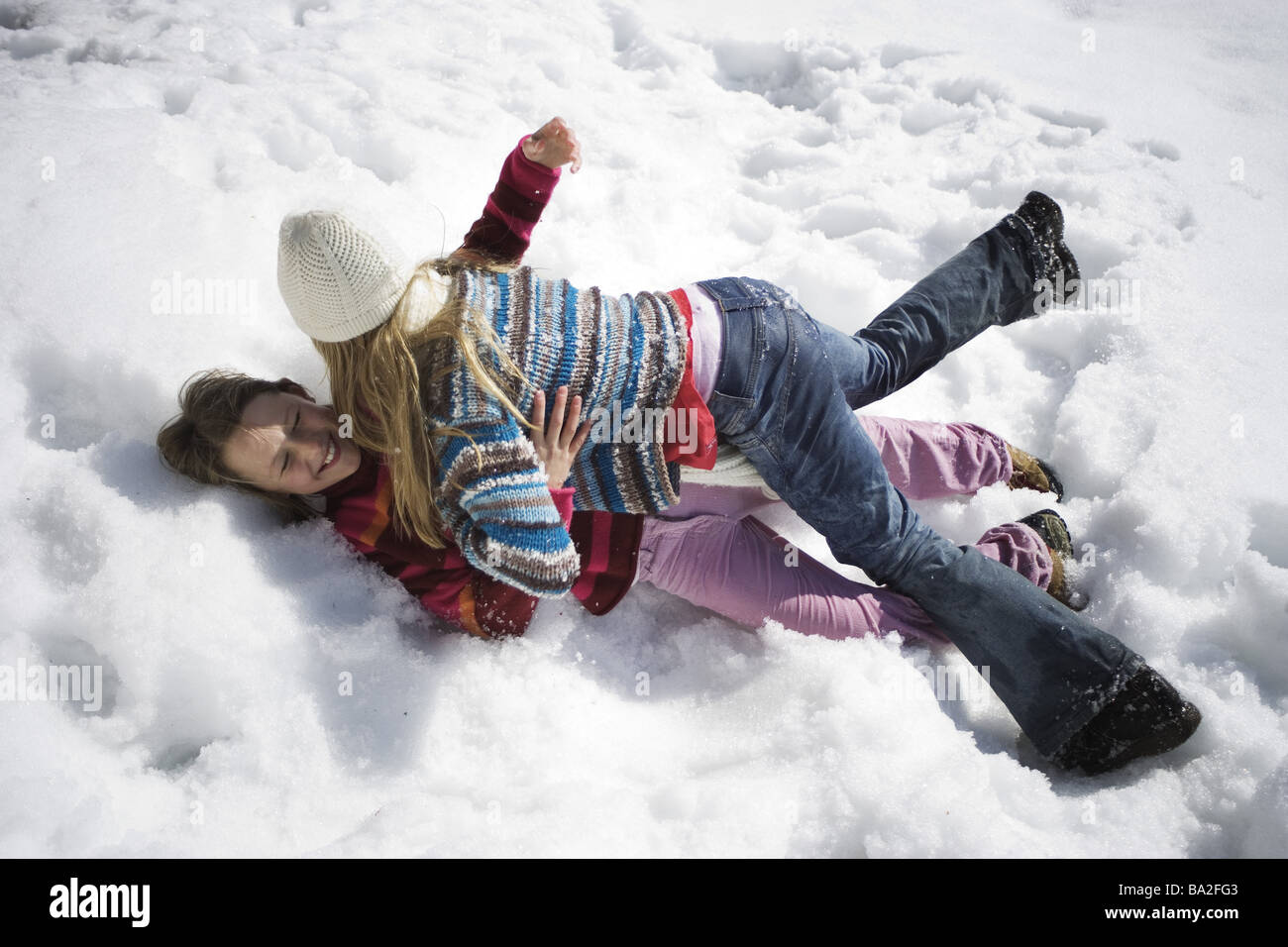 Girls winter-clothing Rangelei omitted rants snow winters leisure time vacation winter-vacation vacation winter - Stock Image