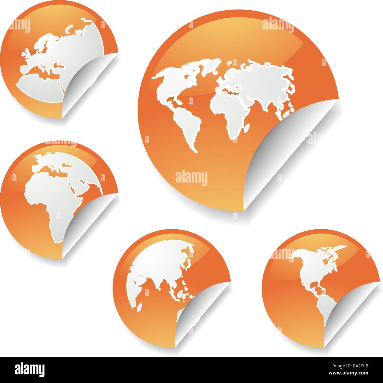 world map icons on round sticker shapes stock photo 23413079 alamy