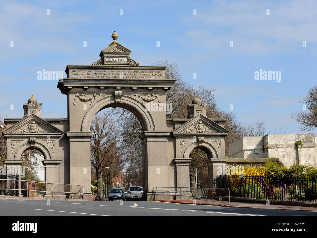 One of the entrances into queen's park in brighton designed by charles barry for william attree - Stock Image