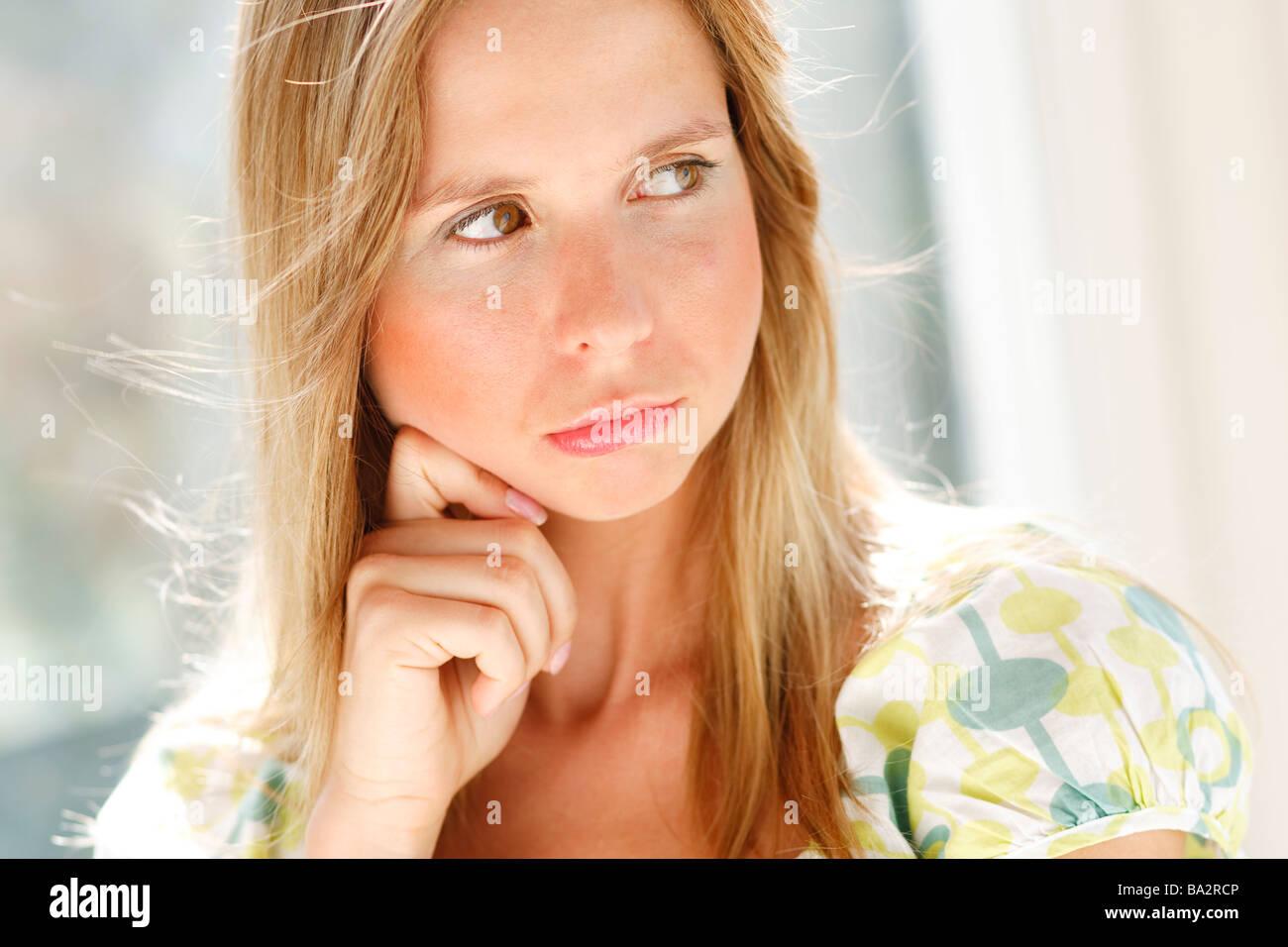 Grumpy woman - Stock Image