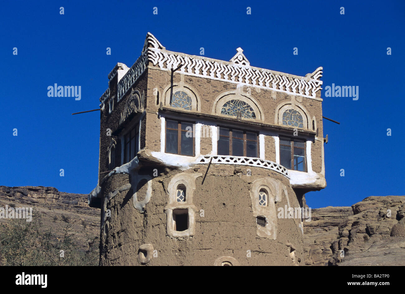 Square Room on Top of Round Adobe Mud Brick Earth Tower House, Wadi Dhar or Dhahr, near Sana'a or San'a, - Stock Image