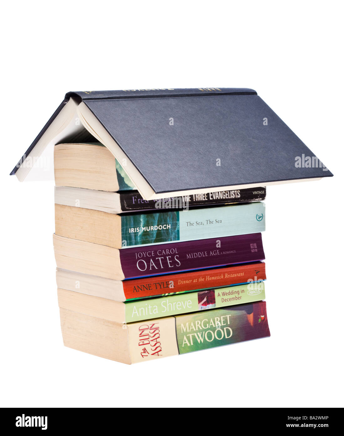 Pile of books stack of literary fiction novels by female authors - Stock Image