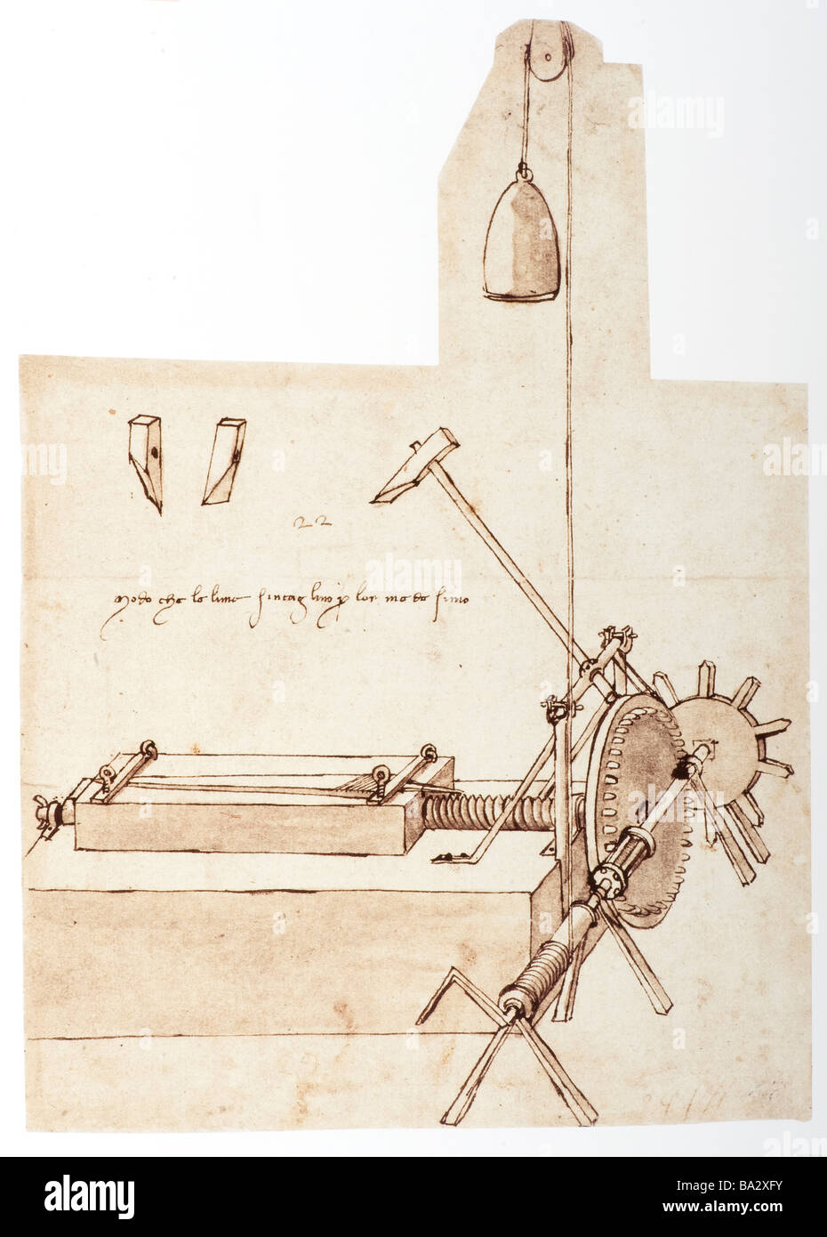 Drawing of a File Cutting Machine by Leonardo da Vinci 1480 pen and ink - Stock Image