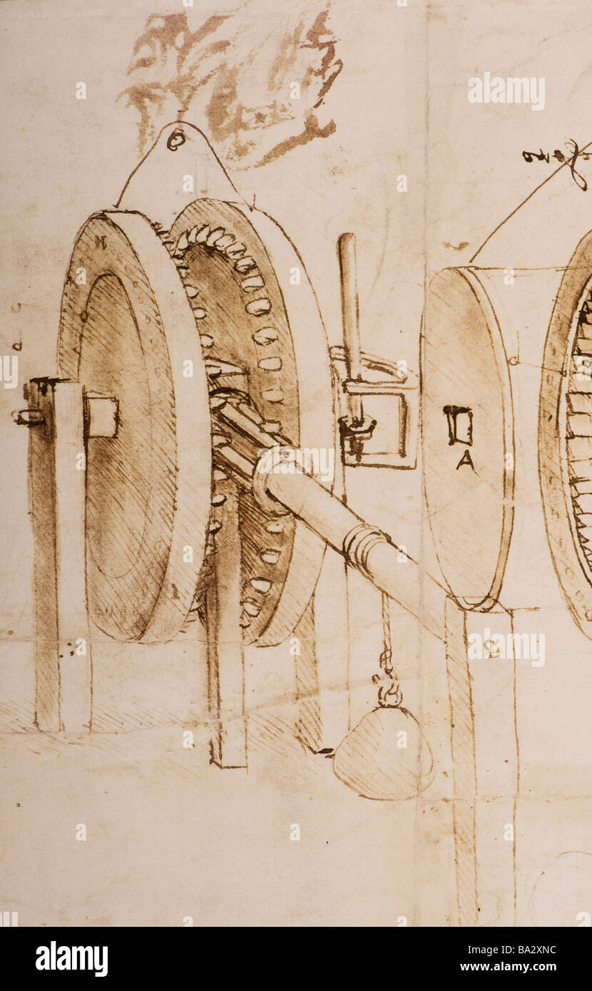 Detail of Toothed Gears and Hygrometer by Leonardo da Vinci 1485 pen and ink - Stock Image