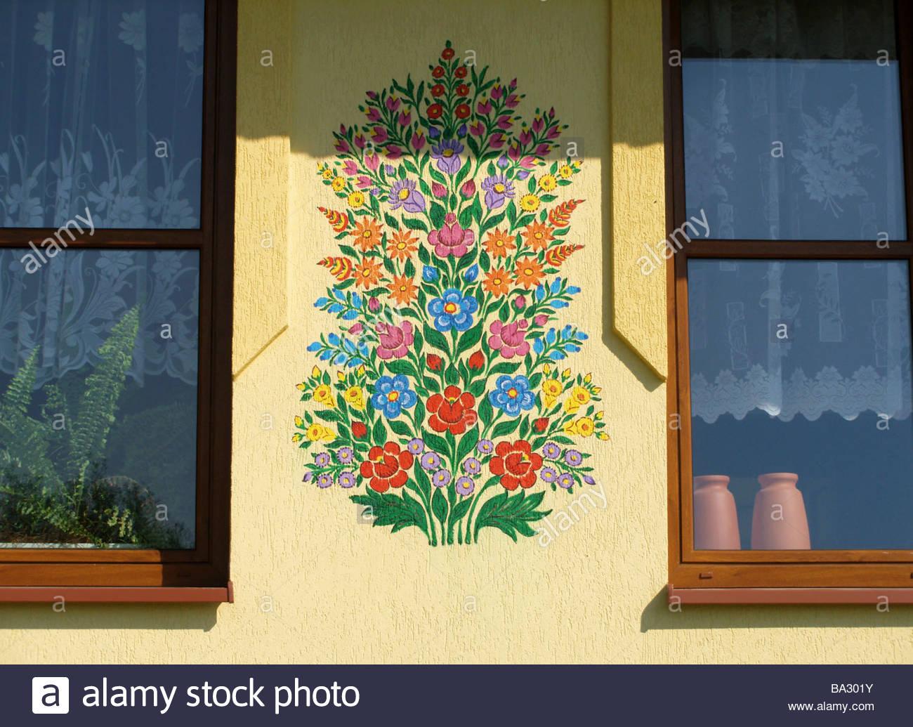 Poland Zalipie house-facade paints detail flower-motive series Stock ...