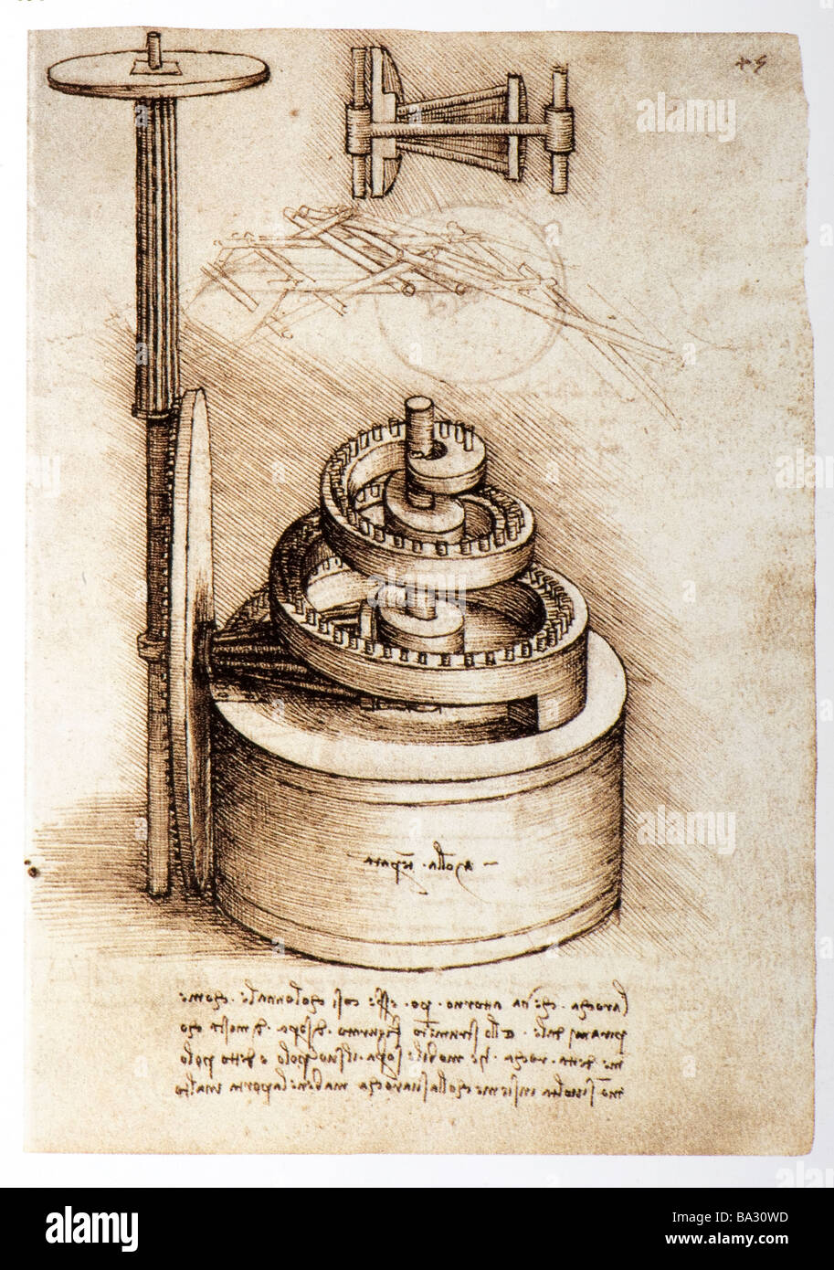 Tempered Spring with Volute Gear by Leonardo da Vinci 1493-1497 pen and ink - Stock Image