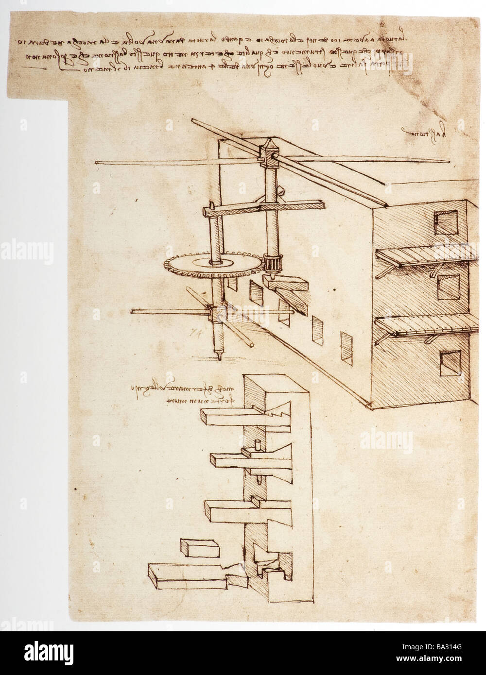 Machine to Prevent Fortress Walls being Scaled by Leonardo da Vinci 1480 pen and ink - Stock Image
