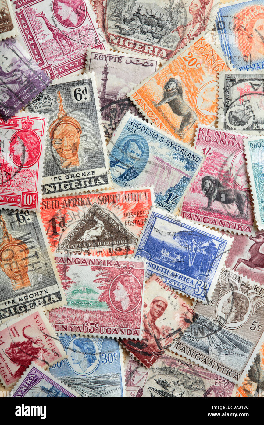 Old African Postage Stamps Stock Photo