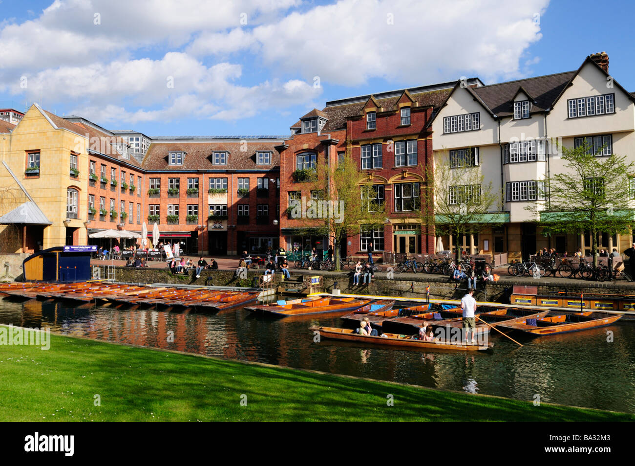 Punting at the Quayside area of Cambridge England UK - Stock Image