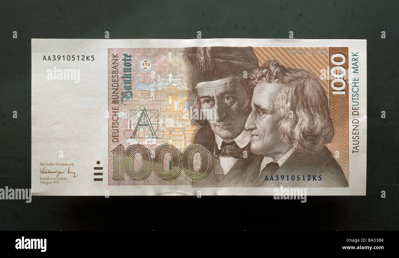 Bill 1000 German marks cash bill money DM forefront illustration brothers Grimm quietly life fact-reception concept - Stock Image