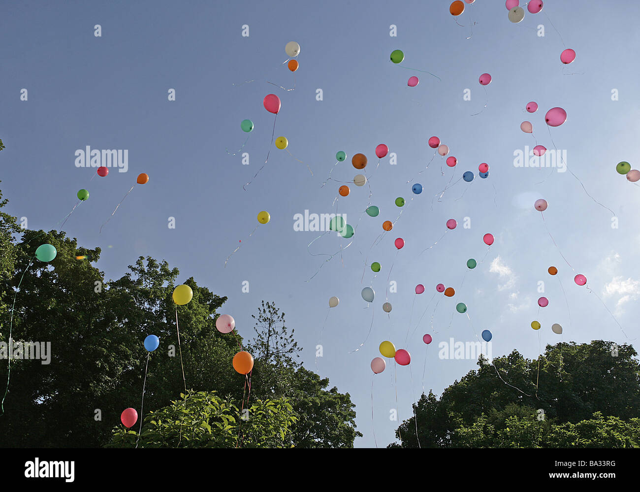 Heavens Balloons Colorfully Flies Summers Outside Sunny Party Celebration Ceremony Jubilee Birthday Child Wedding Fun