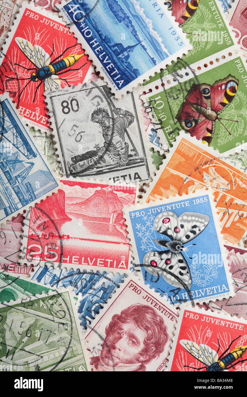 Old Swiss Postage Stamps. - Stock Image