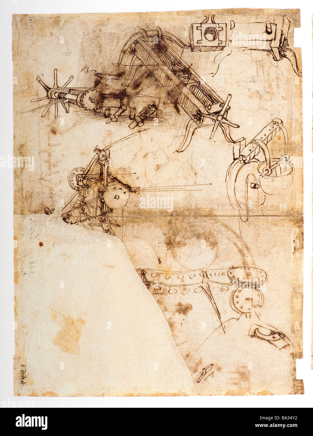Mechanism for Drawing Crossbows by Leonardo da Vinci 1478 pen and ink - Stock Image