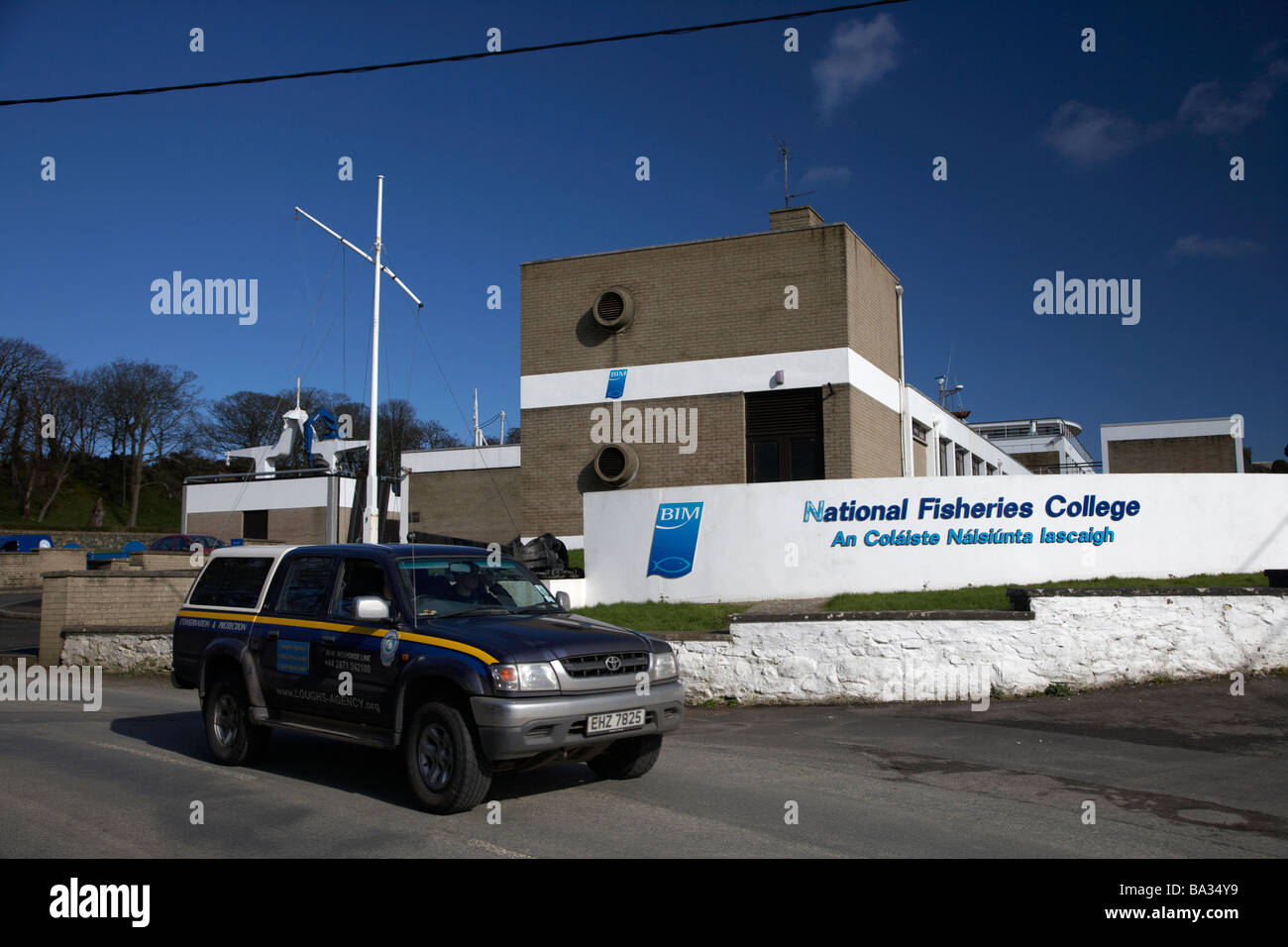 loughs agency 4x4 vehicle passing The National Fisheries College Greencastle County Donegal Republic of Ireland - Stock Image