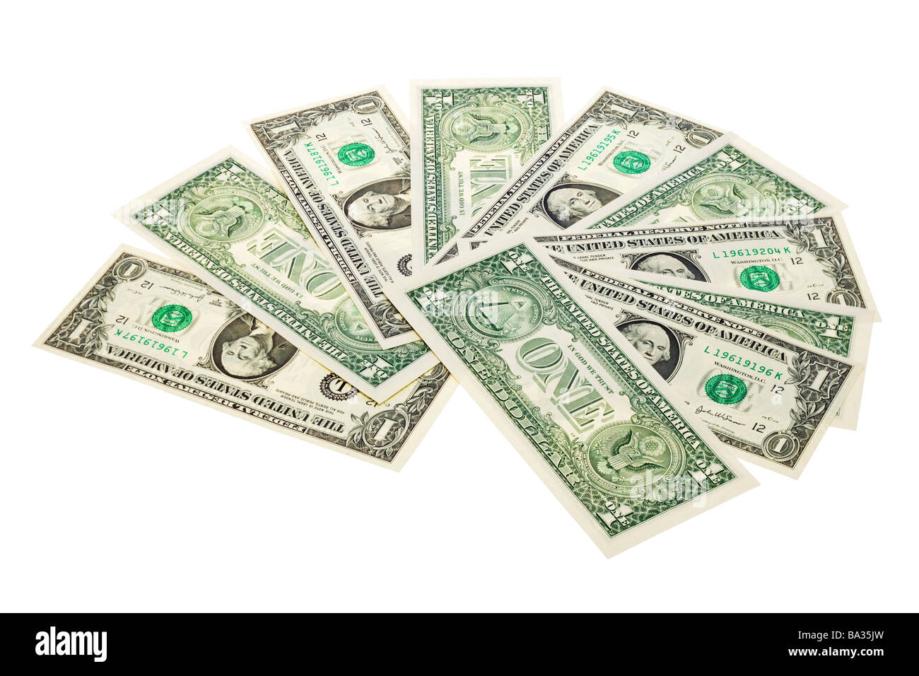 Group of US One Dollar bills arranged in a fan - Stock Image