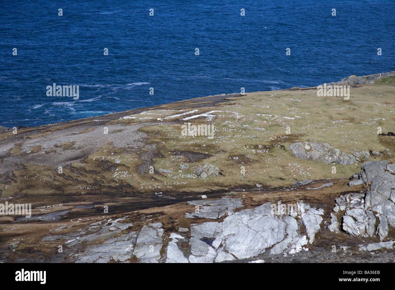 rocky outcrop at malin head inishowen peninsula county donegal republic of ireland irelands most northerly point - Stock Image