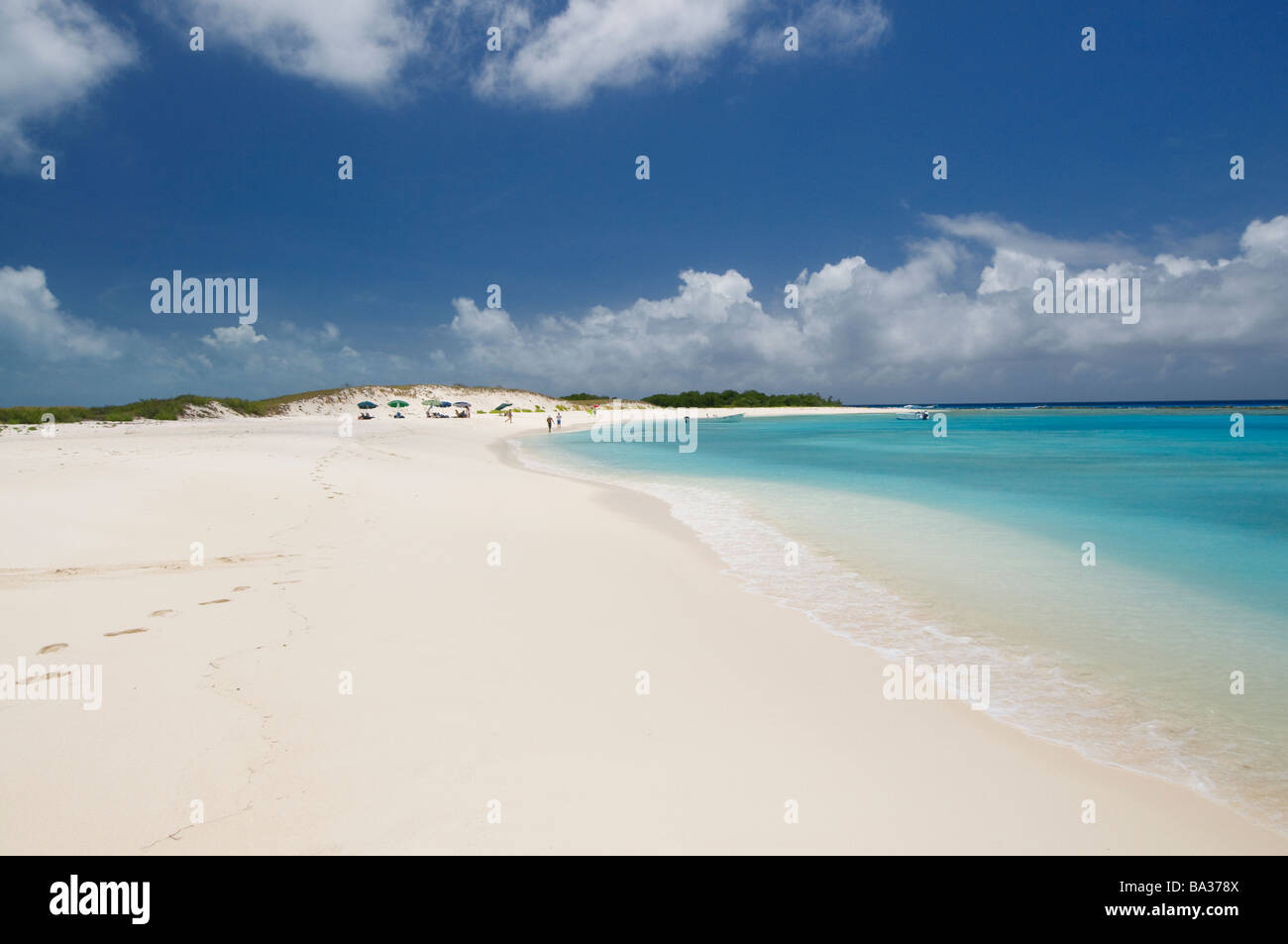 beautiful white sand beach Cayo De Agua Los Roques Venezuela South America - Stock Image
