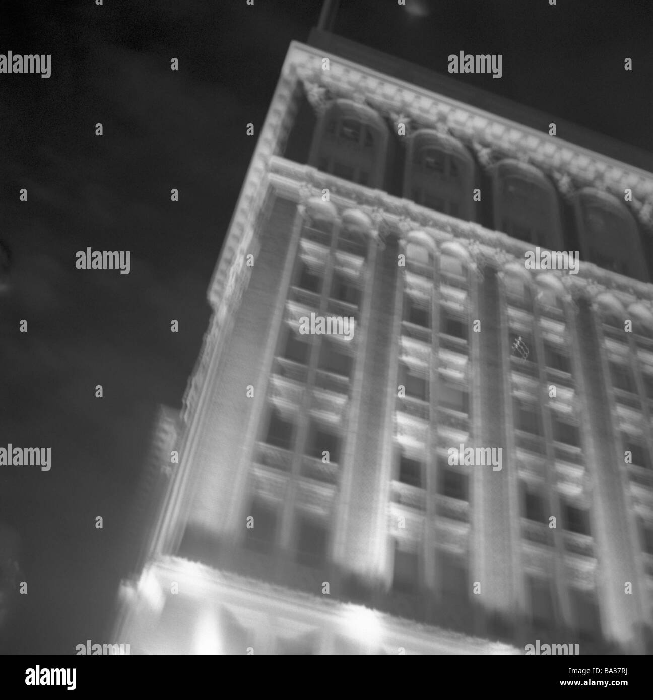 USA California San Francisco finance-district high-rise detail fuzziness night s/w city city district city center buildings Stock Photo