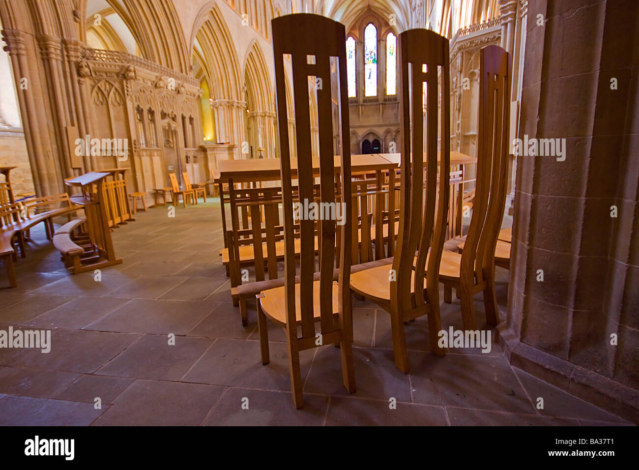 Chairs Wells Cathedral somerset england - Stock Image