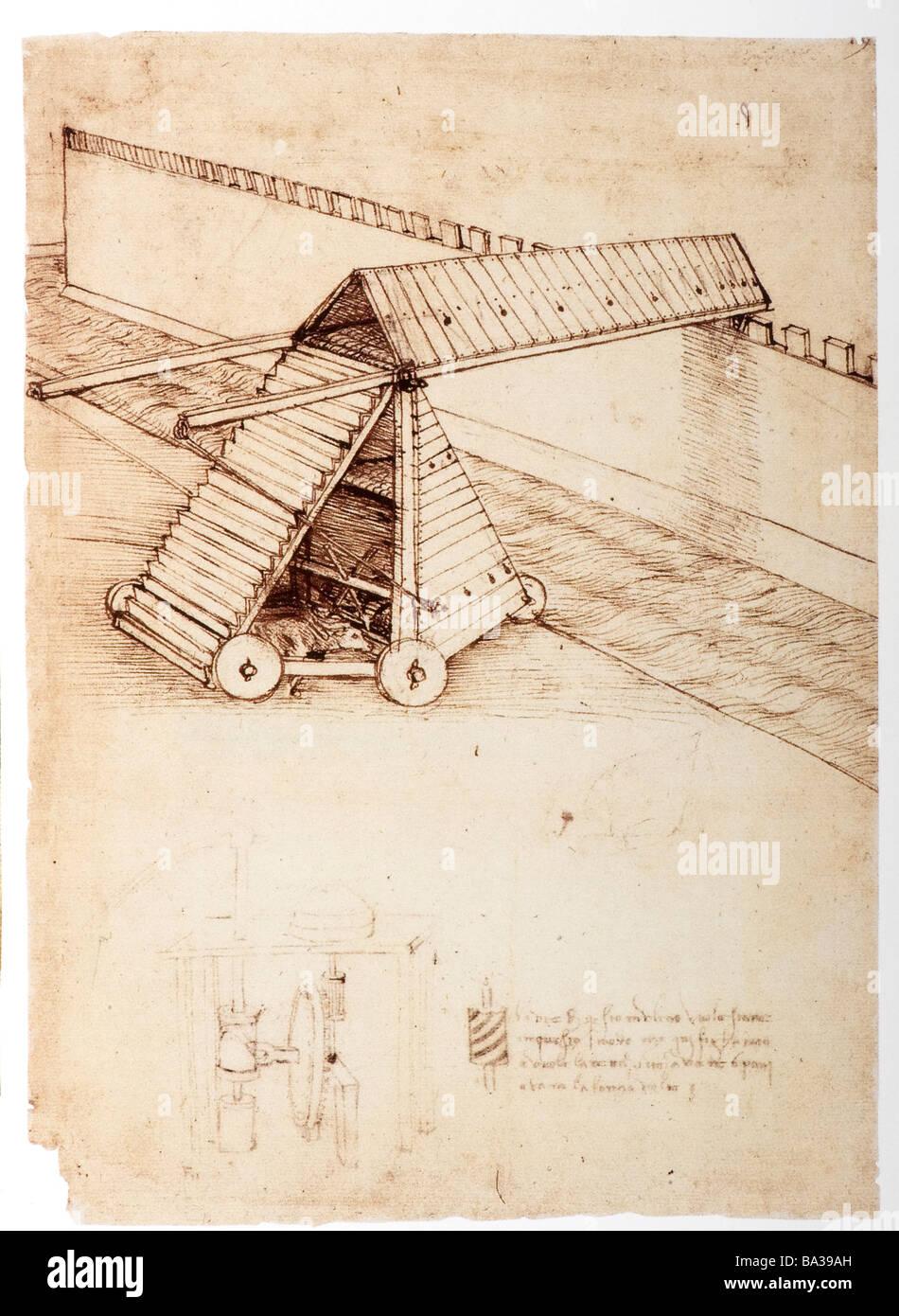 Design for a Siege Machine with Covered Bridge by Leonardo da Vinci 1480 pen and ink - Stock Image