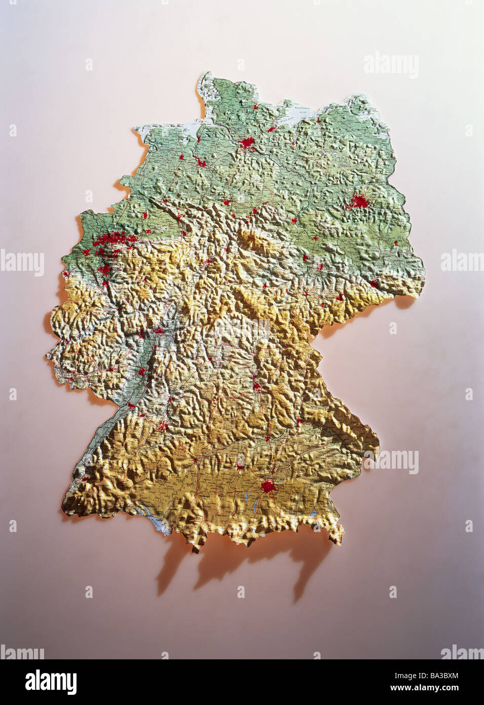 Map Of Germany Mountains.Map Germany 3d Three Dimensional Card Federal Republic Frg Stock