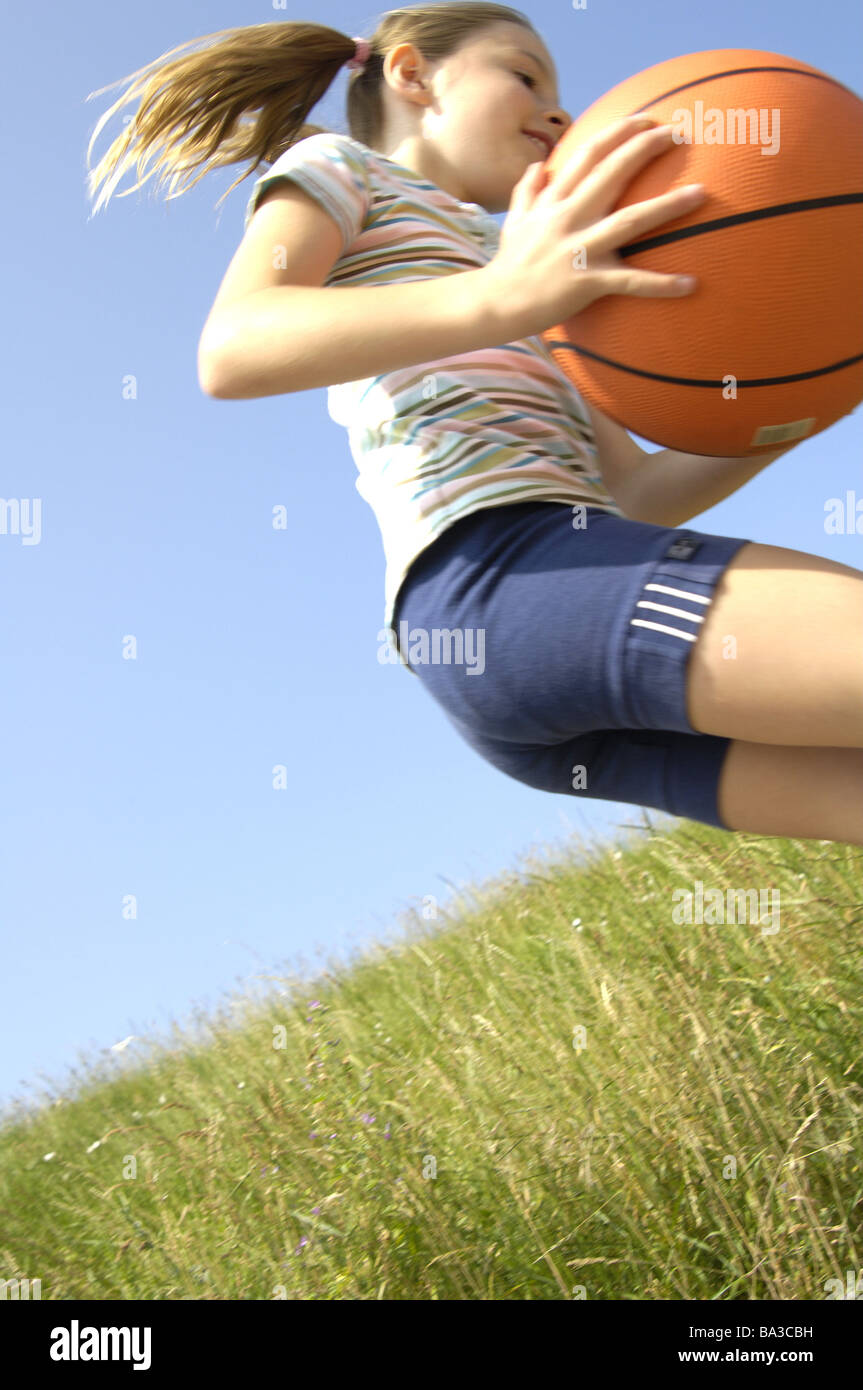 Meadow Girls Ball Games Cheerfully Broached From Below Series People Stock Photo Alamy