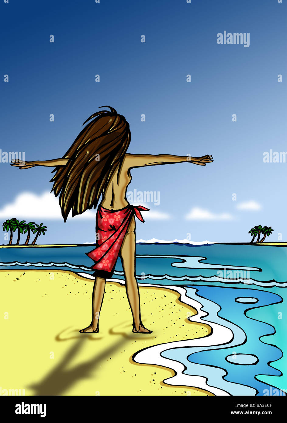 Illustration manga sandy beach woman young long haired above without illustration manga sandy beach woman young long haired above without pareo poor wind extend back opinion graphics drawing voltagebd Choice Image