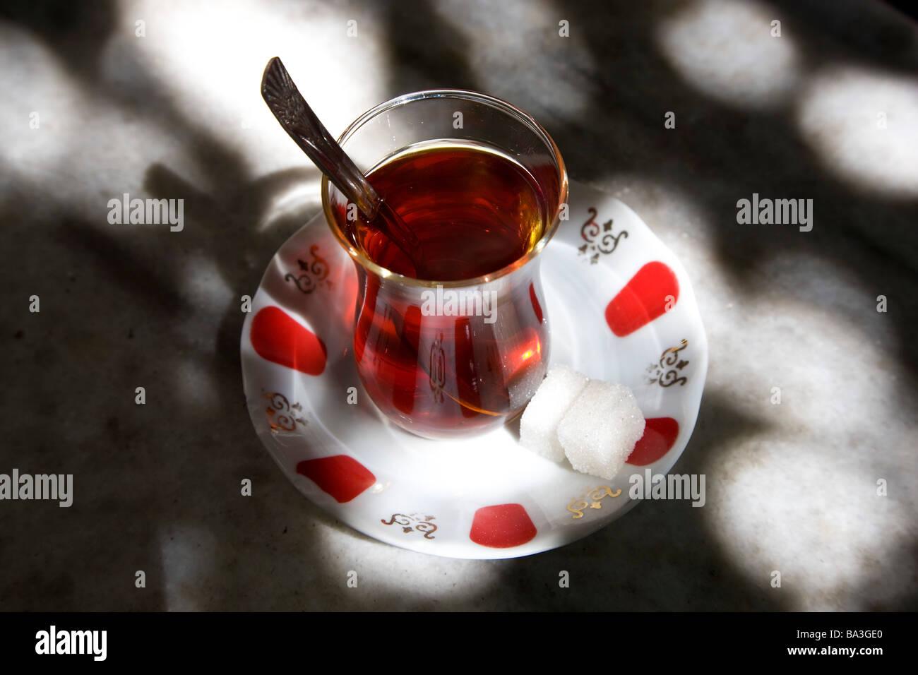 Turkish tea Istanbul Turkey - Stock Image