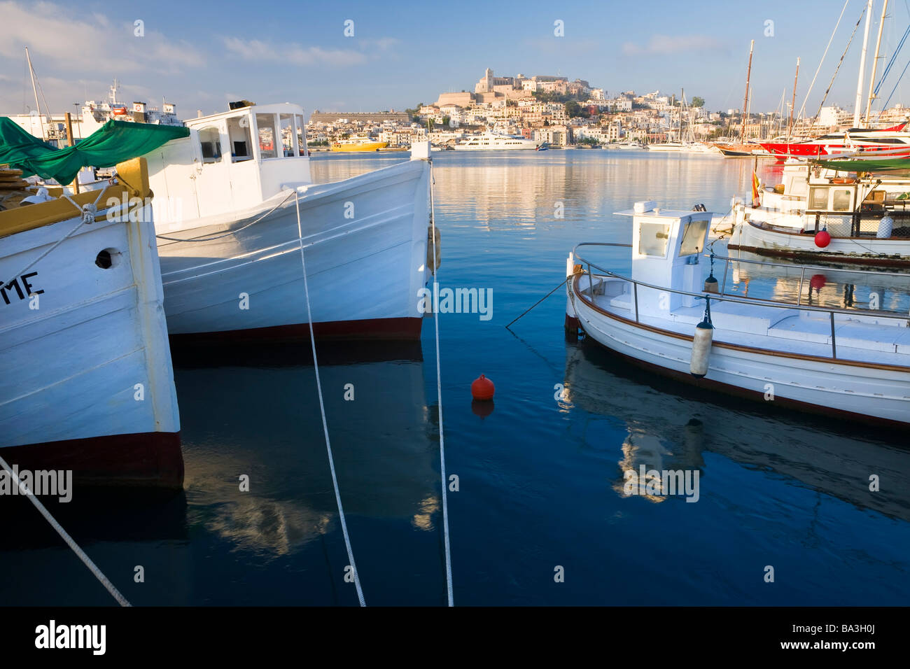 Harbour Old town Eivissa or Ibiza Town Ibiza Balearic Islands Spain - Stock Image