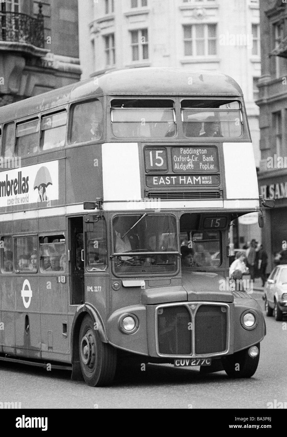 Seventies, black and white photo, road traffic, public service vehicle, double-deck bus, AEC Routemaster, Great - Stock Image