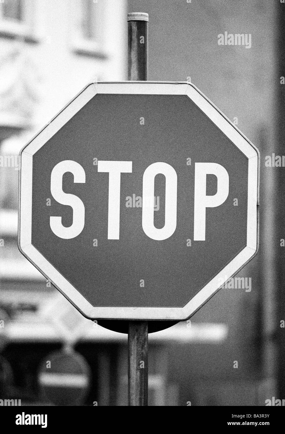 Eighties, black and white photo, road traffic, traffic sign, stop sign - Stock Image