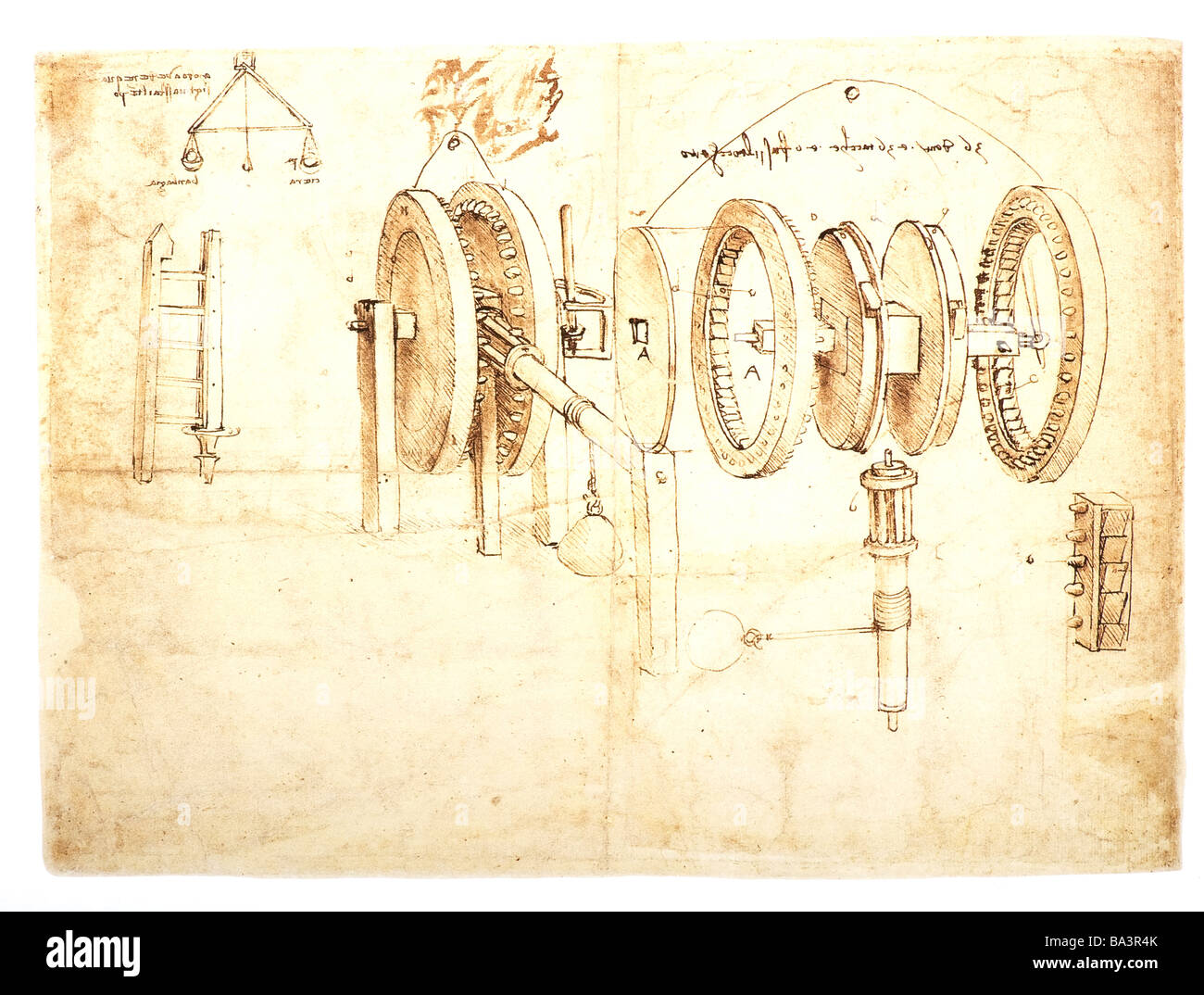 Studies of Toothed Gears and for a Hygrometer by Leonardo da Vinci 1485 pen and ink - Stock Image