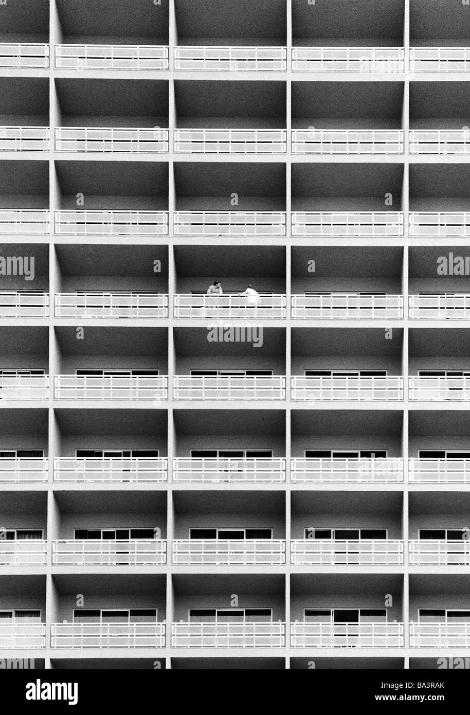 Eighties, black and white photo, holidays, tourism, resort hotel, facade, balconies, Spain, Canary Islands, Canaries, - Stock Image
