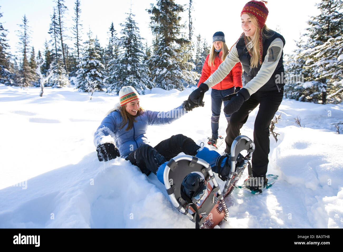Two young women help up a third after she fell during their snowshoe excursion near Homer Alaska during Winter - Stock Image