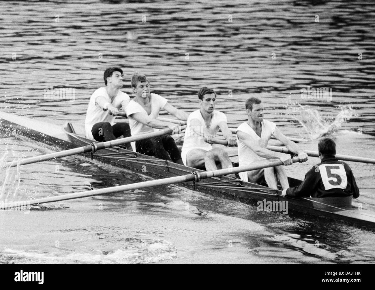 Sixties, black and white photo, sports, rowing, International Rowing Regatta 1966 in Duisburg, rowboat, coxed four, - Stock Image