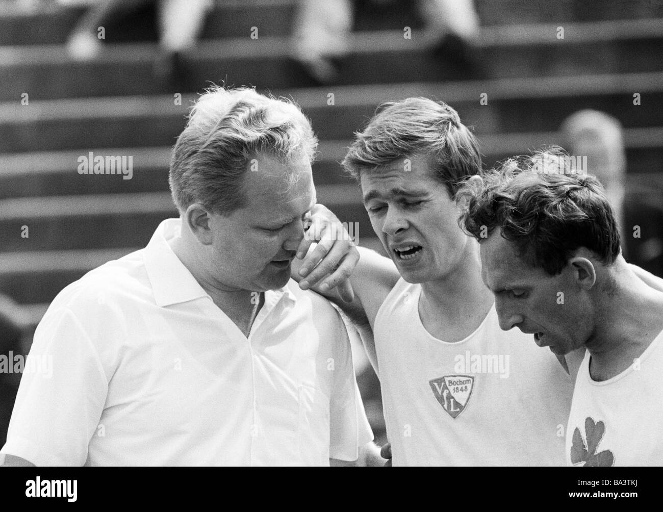 Sixties, black and white photo, sports, athletics, Juniors Lower Rhine Championships in Athletics 1966 in the Jahn - Stock Image