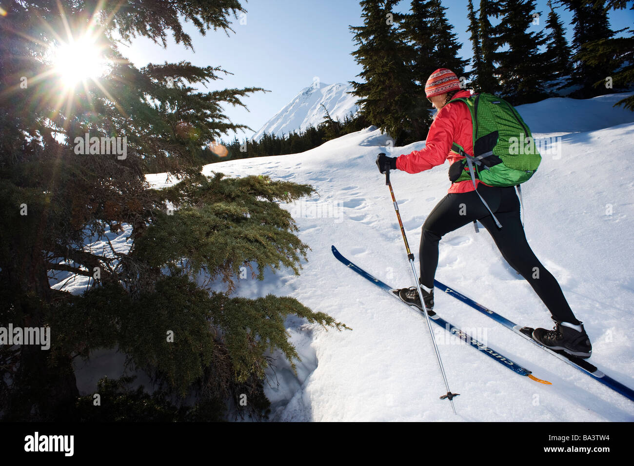 Female skier tours the Center Ridge area in Turnagain Pass of Chugach National Forest, Alaska - Stock Image