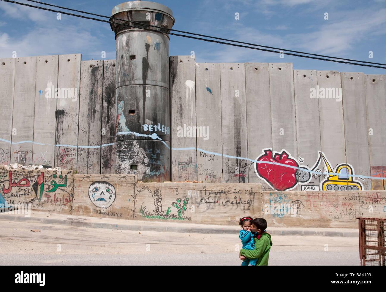 Palestinian Authority Bethlehem Aida refugee camp Israeli wall and watchtower - Stock Image