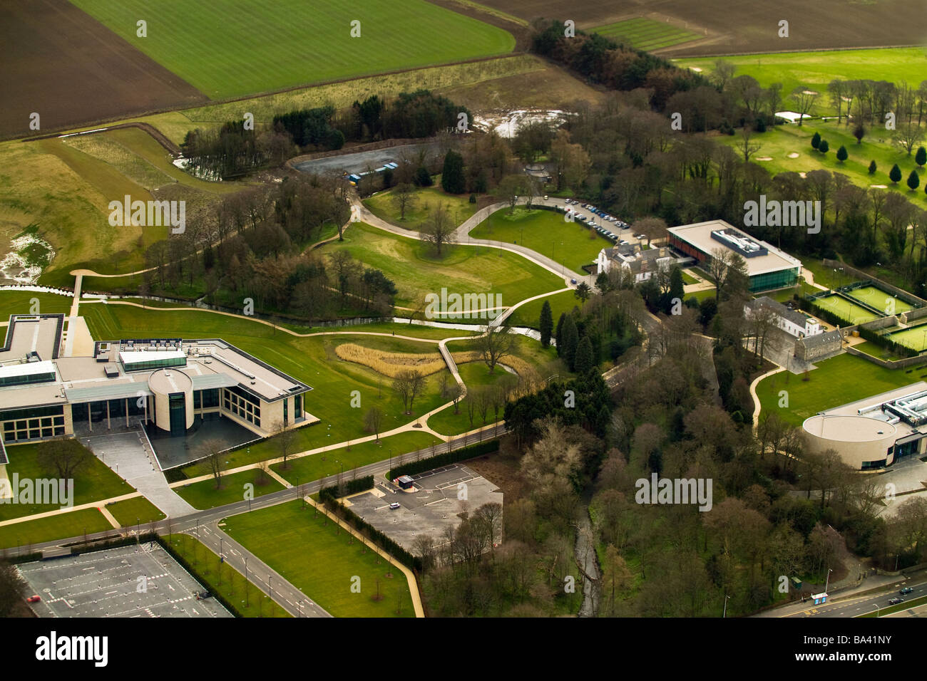 aerial photograph of rbs hq gogarburn - Stock Image