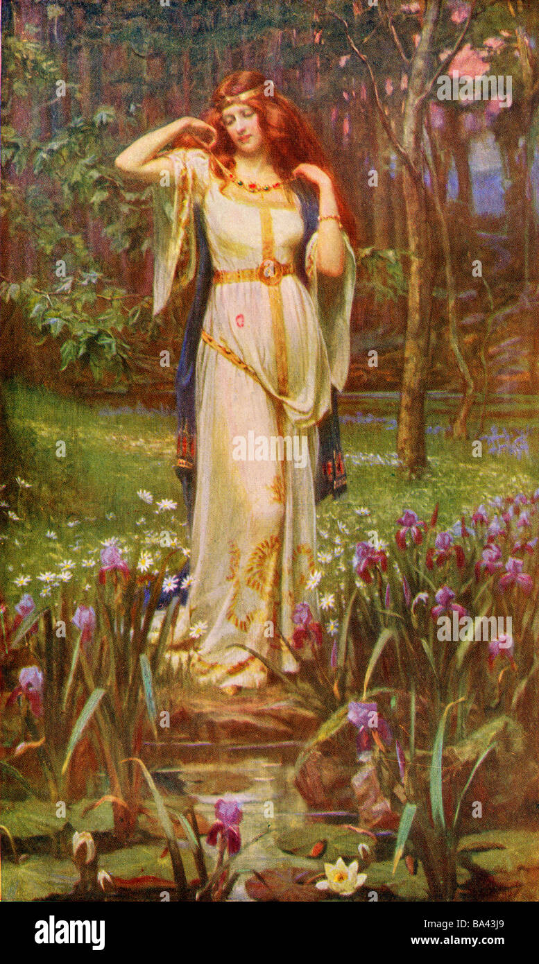 Freyja and the Necklace.  Norse myth. - Stock Image
