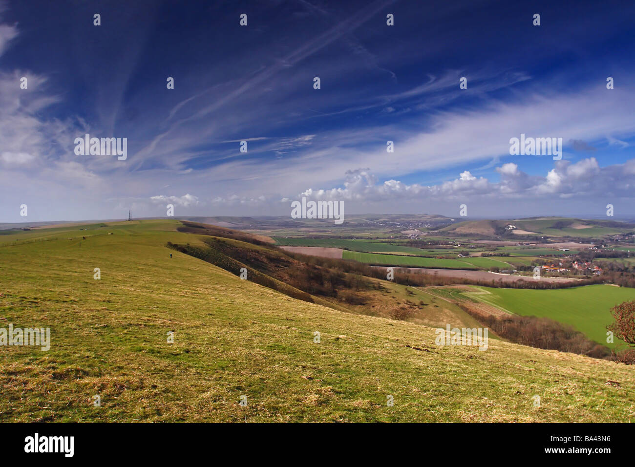 South Downs - East of Firle radio station sussex - Stock Image