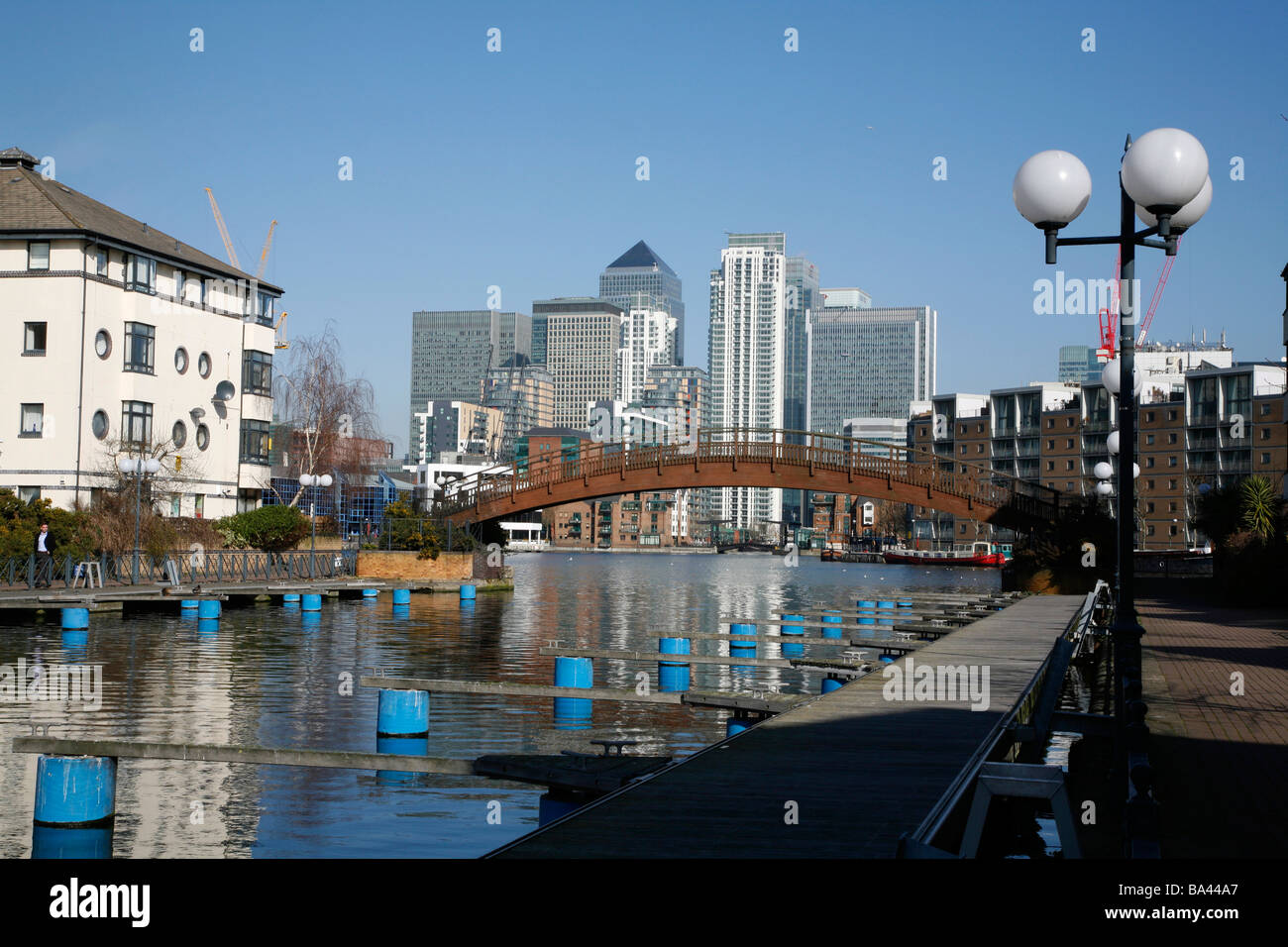 View of Canary Wharf from Millwall Outer Dock, Millwall, Isle of Dogs, London - Stock Image
