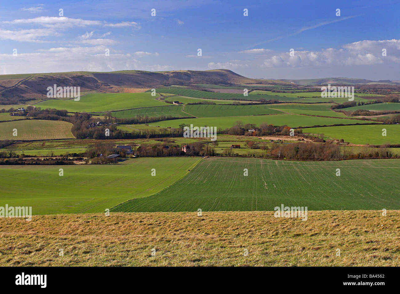 South Downs - West of the Long Man of Wilmington Sussex - Stock Image