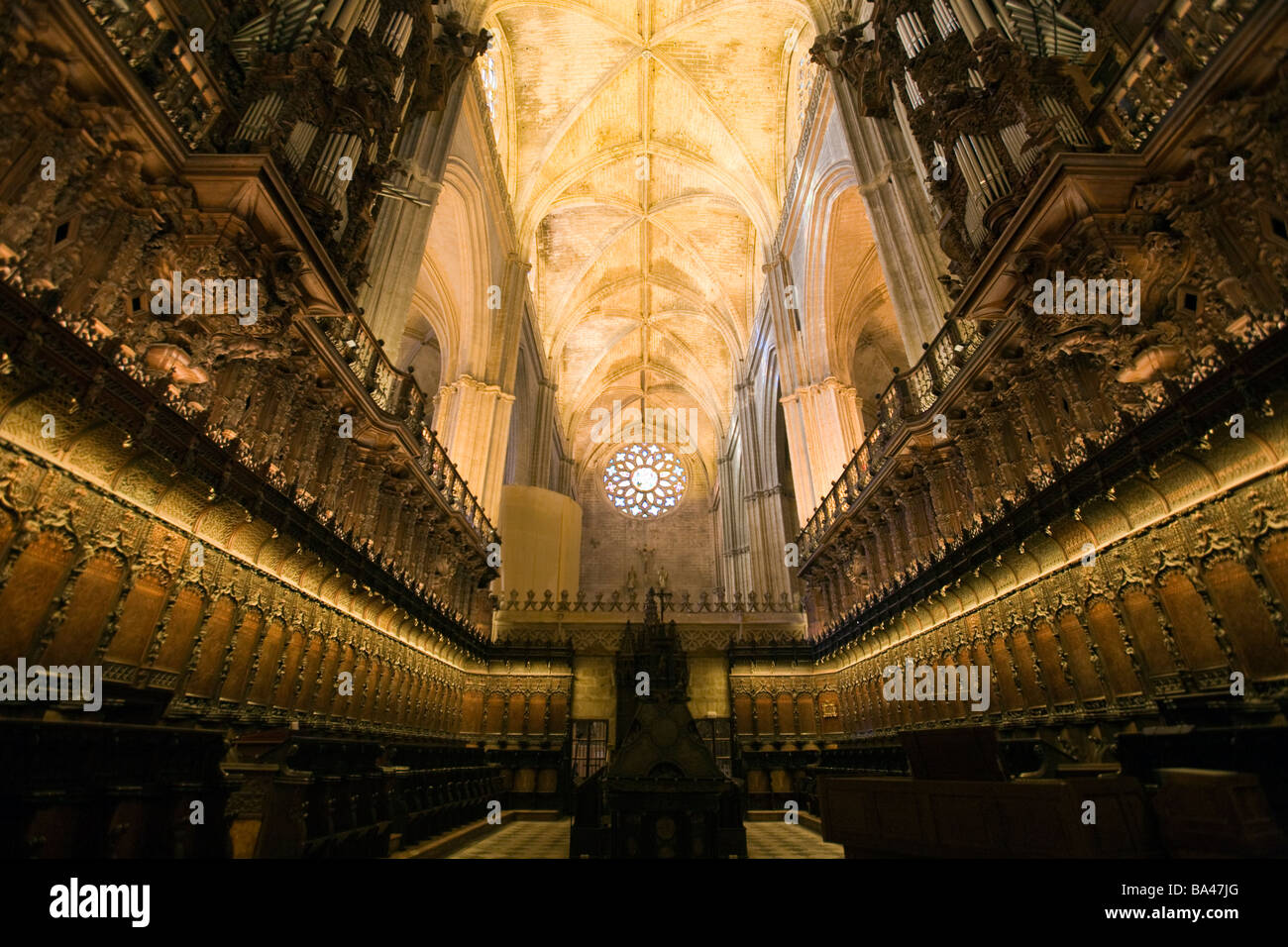 Cathedral choir town of Seville autonomous community of Andalusia southern Spain - Stock Image